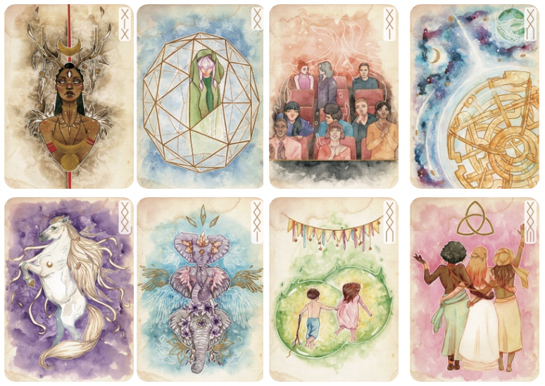Exemples d'illustrations des cartes de l'oracle des murmures